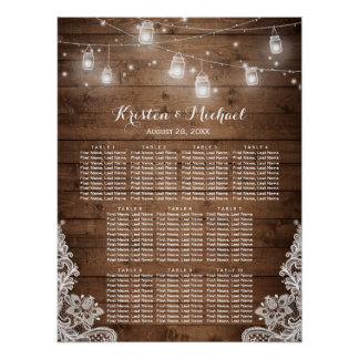 Rustic Country String Lights Wedding Seating Chart Poster