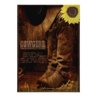 Rustic Country Western Cowgirl Bridal Shower 13 Cm X 18 Cm Invitation Card