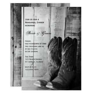 Rustic Cowboy Boots Wedding Rehearsal Dinner 13 Cm X 18 Cm Invitation Card