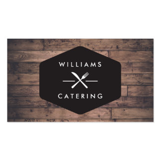 Rustic Distressed Wood Fork Knife Intersect Logo 2 Pack Of Standard Business Cards