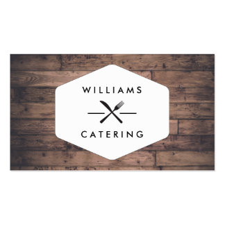 Rustic Distressed Wood Fork Knife Intersect Logo Pack Of Standard Business Cards