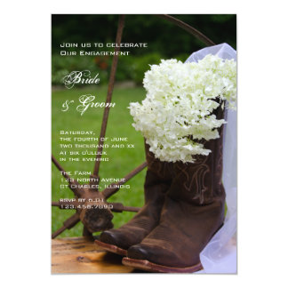 Rustic Hydrangea and Cowboy Boots Engagement Party 13 Cm X 18 Cm Invitation Card