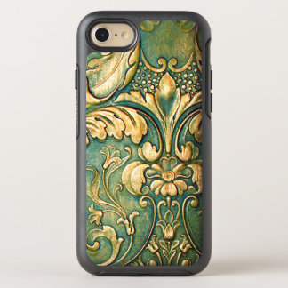 Rustic Irish Green Dyed Carve Wood Leaves OtterBox Symmetry iPhone 7 Case