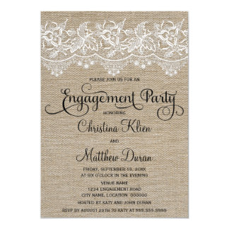 Rustic Jute and Lace Engagement Party 13 Cm X 18 Cm Invitation Card