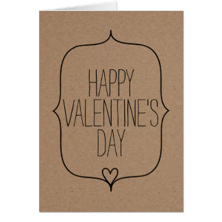 Rustic Kraft Paper Cute Heart Happy Valentines Day Greeting Card