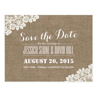 Rustic Lace Corner Burlap Wedding Save the Date Postcard