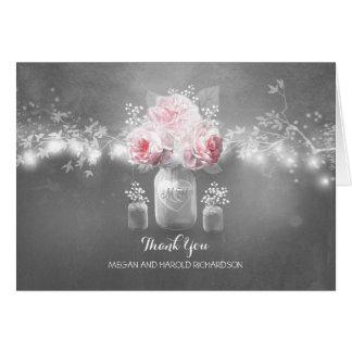 Rustic Mason Jar String Lights Wedding Thank You Note Card