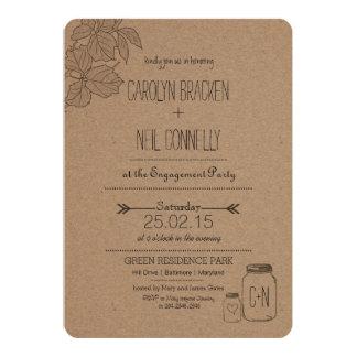 Rustic Masonjar | Leaves | Heart Engagement Party 13 Cm X 18 Cm Invitation Card