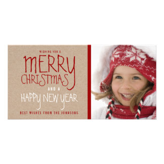 RUSTIC MERRY CHRISTMAS   HOLIDAY PHOTO CARD