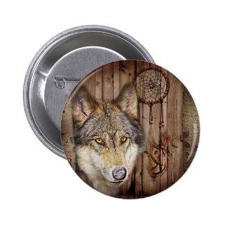rustic native indian dream catcher wild wolf 6 cm round badge
