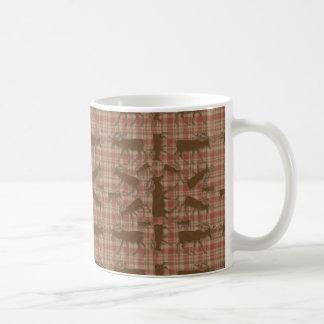 Rustic plaid brown moose basic white mug
