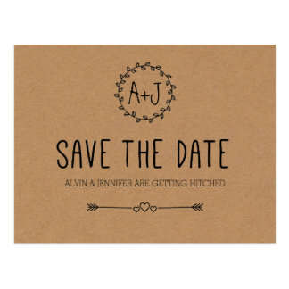 Rustic Save the Date / Kraft Paper Save the date Postcard