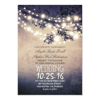 Rustic tree branches & string lights wedding 13 cm x 18 cm invitation card