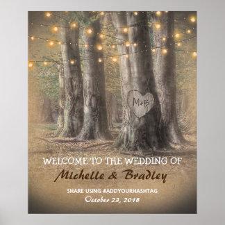 Rustic Tree & String Lights Wedding Poster