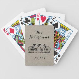 Rustic Vintage Bicycle Wedding Monogram Card Decks