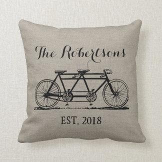 Rustic Vintage Bicycle Wedding Monogram Throw Cushions