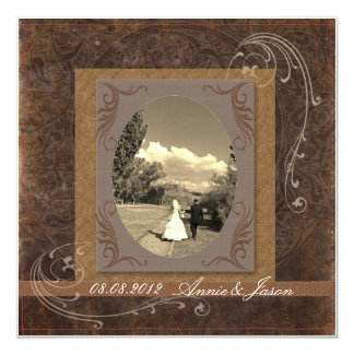 rustic western country steampunk wedding 13 cm x 13 cm square invitation card
