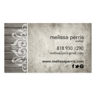 Rustic Wood Filigree | grey white Pack Of Standard Business Cards
