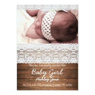 Rustic Wood Lace Baby Girl Birth Announcement