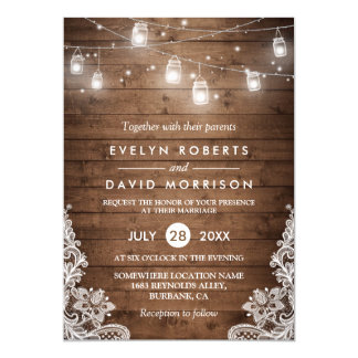 Rustic Wood Mason Jars String Lights Lace Wedding 13 Cm X 18 Cm Invitation Card