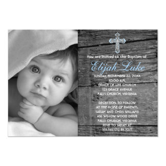 Rustic Wood with Vintage Cross Photo Baptism 13 Cm X 18 Cm Invitation Card