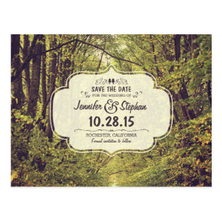 Rustic woodland trees path save the date postcards