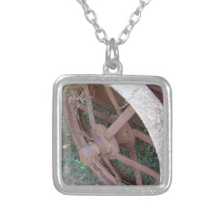 Rusty iron wheel of old cart square pendant necklace