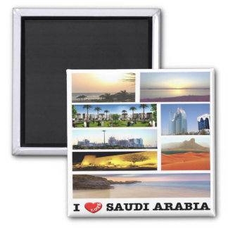 SA - Saudi Arabia - I Love - Collage Mosaic Square Magnet