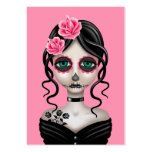 Sad Day of the Dead Girl on Pink Pack Of Chubby Business Cards