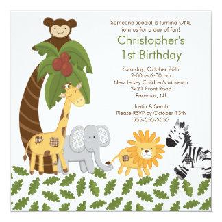 Safari Jungle Animal Kid Birthday Party Invitation