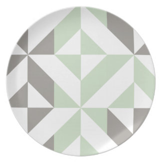 Sage Green and Silver Geometric Deco Cube Pattern Party Plates