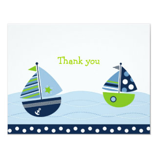 Sail Away Sailboat Flat Thank You Note Cards 11 Cm X 14 Cm Invitation Card
