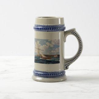 Sailing in a rough sea beer steins