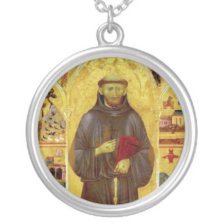 Saint Francis of Assisi Medieval Iconography Round Pendant Necklace