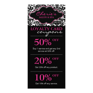 Salon Marketing Cards Damask Pink Floral Rack Card Template