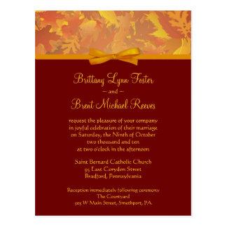Sample Wedding Invitation - Autumn Leaves Postcard