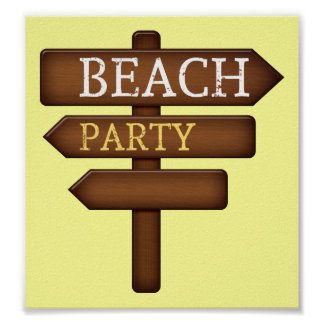 sand-and-beach_wood-sign BEACH PARTY WOODEN SIGN F Poster