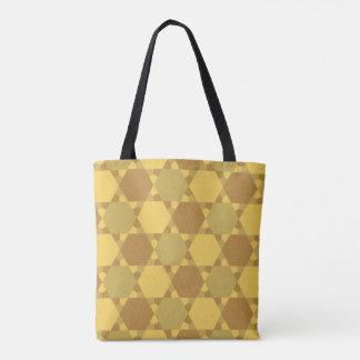 Sand Brown Star Optical Illusion Pattern Tote Bag