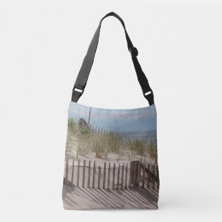 Sand dune and beach fences tote bag