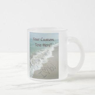 Sand Writing on the Beach, I Love You Frosted Glass Mug