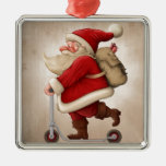 Santa Claus and the Push scooter Silver-Colored Square Decoration