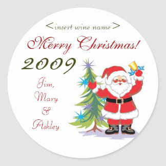 Santa Merry Christmas Personalized Wine Labels Round Sticker