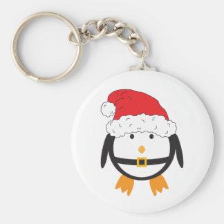 Santa Penguin Basic Round Button Key Ring