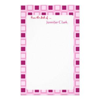 Sassy Candy Pink Squares Custom Personalized Custom Stationery