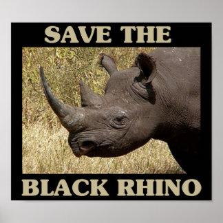 Save the Black Rhino Poster