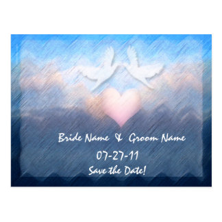 Save the Date Custom Heart Doves Ocean Abstract  Postcard