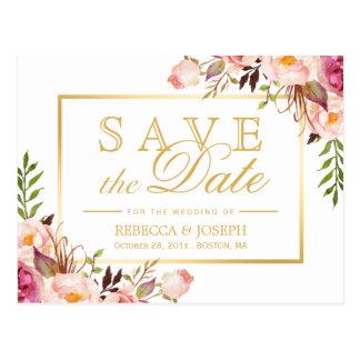 Save the Date Elegant Chic Pink Floral Gold Frame Postcard