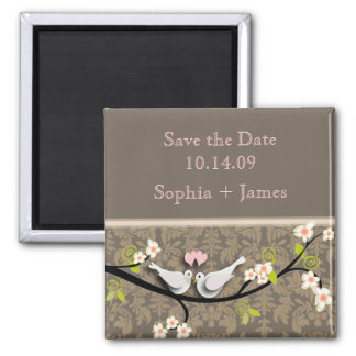 Save the Date, love birds Square Magnet