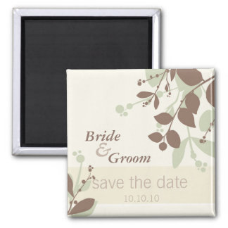 SAVE THE DATE :: nature - vanilla moss mocha Square Magnet