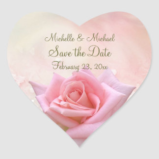 Save the Date Pink Rose Heart Sticker